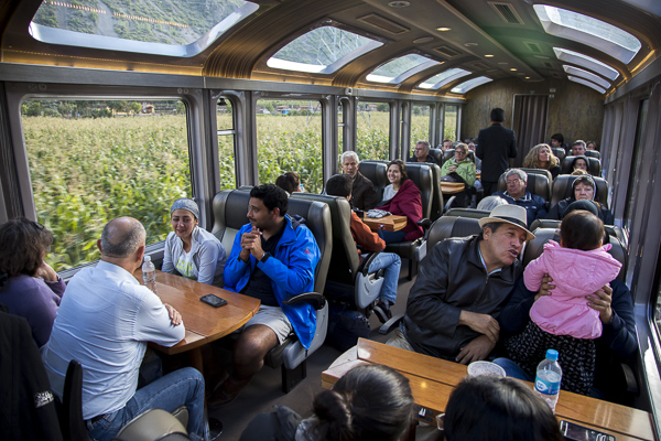 Isolated in the Andean mountain range, the only way to get to Machu Pichu is by rail to Agua Calientes, the small touristy town at the base of Machu Pichu.  The train ride itself is wonderfullu scenic and the train's large windows on the sides make for a visually breathtaking experience.