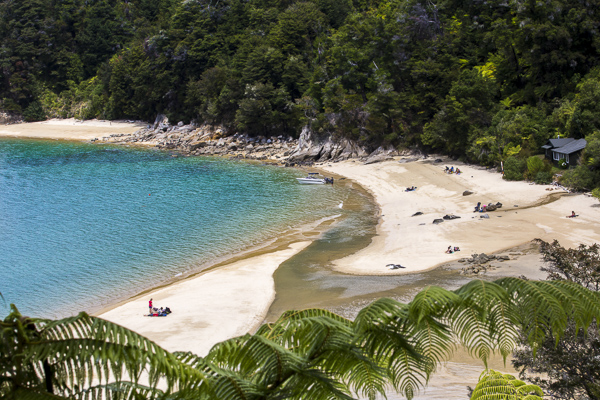 Looking down on one of Abel Tasman National Park's exquisite lagoons from the parks' famous coastal hiking trail.