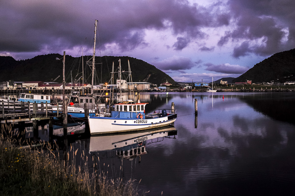 The stunning purplish hues of the Greymouth River at sundown.