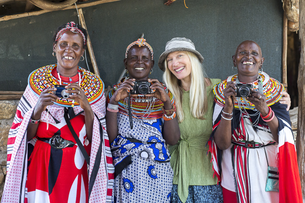 Me with some of the Samburu elders who participated in the workshop. The Samburu culture reveres its elders and I noticed how it was the elders who spoke first and most confidently, who got first dibs on the cameras and had their work edited and printed before the younger women.